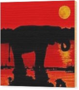 Elephant Silhouette African Sunset Wood Print