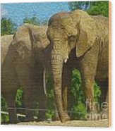 Elephant Snuggle Wood Print