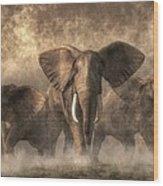Elephant Stampede Wood Print