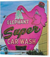 Elephant Super Car Wash Wood Print