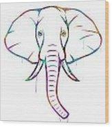 Elephant Watercolors - White Background Wood Print