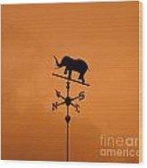 Elephant Weathervane Sunset Wood Print