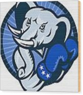 Elephant With Boxing Gloves Democrat Mascot Wood Print by Aloysius Patrimonio