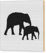 Elephants In Black And White Wood Print
