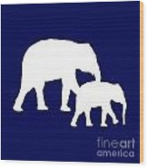 Elephants In Navy And White Wood Print