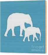Elephants In White And Turquoise Wood Print