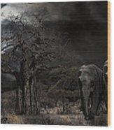 Elephants Of The Serengeti Wood Print