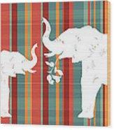 Elephants Share Wood Print by Alison Schmidt Carson
