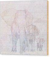 Elephants - Sketch Wood Print