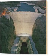 Elevated View At Dusk Of Hoover Dam Wood Print