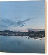 Elevated View Of A Harbor At Sunset Wood Print