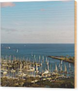 Elevated View Of Boats At A Harbor Wood Print