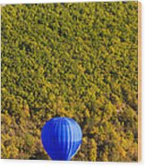 Elevated View Of Hot Air Balloon Wood Print