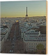 Elevated View Of Paris From Arc De Wood Print