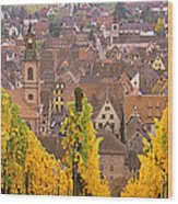 Elevated View Of The Riquewihr Wood Print