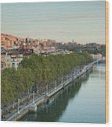 Elevated View Of The Zubizuri Bridge Wood Print
