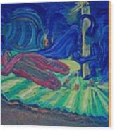 Elf And His Magical Slippers Wood Print