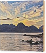 Elgol Beach At Sunset Wood Print