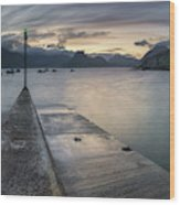 Elgol Pier And Boats With Cuillin Wood Print