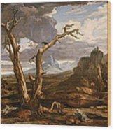 Elijah In The Desert Wood Print
