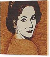 Elizabeth Taylor Original Coffee Painting On Paper Wood Print