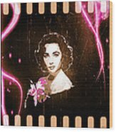 Elizabeth Taylor - Pink Film Wood Print by Absinthe Art By Michelle LeAnn Scott