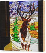 Elk Stained Glass Window Wood Print