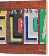 Ella License Plate Name Sign Fun Kid Room Decor. Wood Print