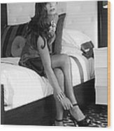 Raquel Bw Palm Springs Wood Print