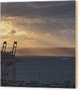Elliott Bay Sunrays Wood Print
