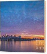 Ellis Island And Manhattan Sunrise Wood Print