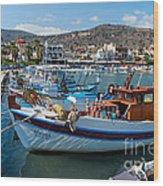 Elounda Harbour Wood Print