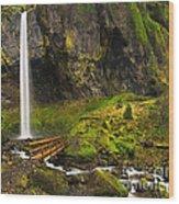 Elowah Falls Panorama -  Columbia River Gorge In Oregon Wood Print
