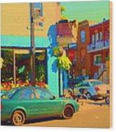 Elses Pub Cafe Plateau Montreal Corner Roy And De Bullion City Scene Art Of Montreal Carole Spandau Wood Print