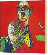 Elton In Red Wood Print
