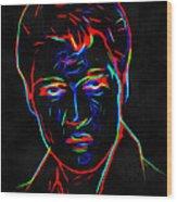 Elvis At Neon Wood Print