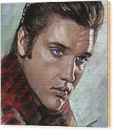 Elvis King Of Rock And Roll Wood Print