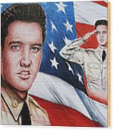 Elvis Patriot  Wood Print