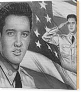 Elvis Patriot Bw Signed Wood Print by Andrew Read