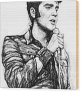 Elvis Presley Art Drawing Sketch Portrait Wood Print