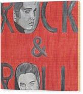 Elvis Presley King Of Rock And Roll Wood Print