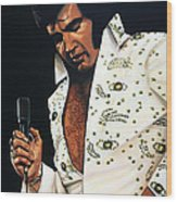 Elvis Presley Painting Wood Print