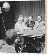 Elvis Presley Photographed With Fans 1956 Wood Print