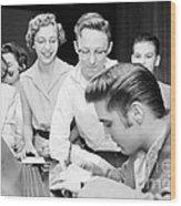 Elvis Presley Signing Autographs For Fans 1956 Wood Print
