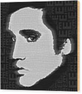 Elvis Presley Silhouette On Black Wood Print