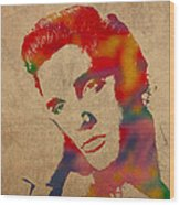 Elvis Presley Watercolor Portrait On Worn Distressed Canvas Wood Print
