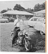 Elvis Presley With His 1956 Harley Kh Wood Print