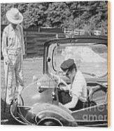 Elvis Presley With His Messerschmitt Micro Car 1956 Wood Print