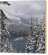 Emerald Bay In Winter Wood Print