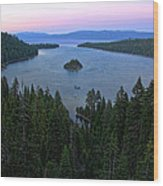 Emerald Bay Sunset Wood Print